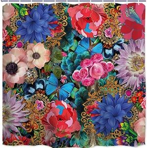 Fabric Shower Curtains Colorful Flower with Europe